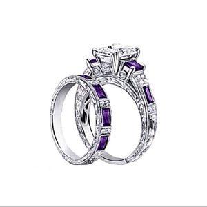 Purple CZ Princes Cut Wedding Set